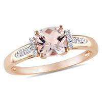 6.0mm Cushion-Cut Pink Morganite and Diamond Accent Ring in 10K Rose Gold