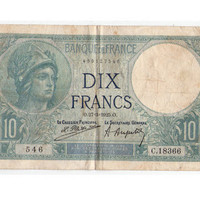10 Franc French Money, Year 1928 banknote, Gift For Him,