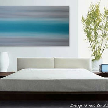 Ocean Mist - Large 48 x 24 Abstract Seascape Painting - Original Modern Minimalist Sky Canvas Acrylic Wall Art Decor - Turquoise, Grey