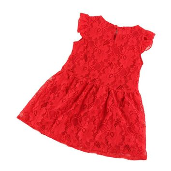 Toddler Kids Princess Girl Clothes One-piece Lace Pleated Sleeve Dress