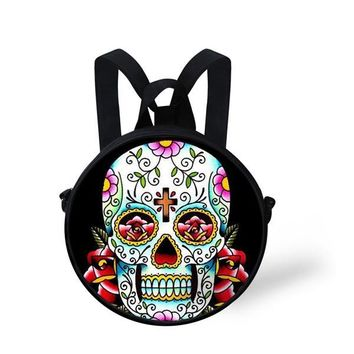 New Fashion Two Way Bags  Skull Round Shoulder Backpacks for Teenagers Punk Back Pack For Baby Boys And Lady's School Book Bags