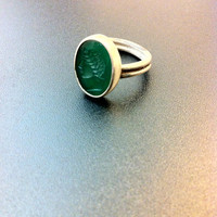 Beautiful sterling silver and green tourmaline ring- gemstone ring- unusual jewelry- ancient greek ring- greek art