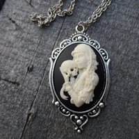 Cameo Necklace, Gothic Pirate Lady with Skull