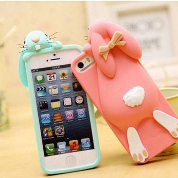 VONE2B5 3D Cartoon Bunny Back Cover Case For iPhone 4G/4G/5G/5S/6 4.7 inch Rabbit Silicon Gel Phone case with Brand Logo