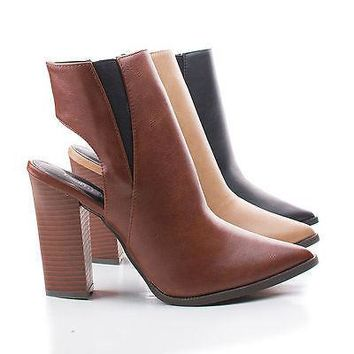 Odin01 Taupe Pu By Bumper, Pointy Toe Cut Out Back Triangle Stacked Chunky Heel Ankle Booties