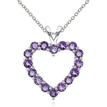 925 Sterling Silver 1.6 Ct Amethyst Open Heart Necklace