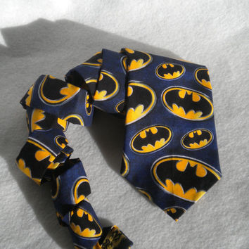 Batman tie mens cotton neck tie navy blue yellow black batman symbol