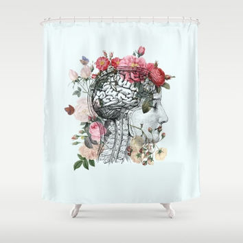 "Anatomical Brain Shower Curtain ""Beautiful Brain"" Illustration - vintage roses, love, unique, vintage chic, beautiful"