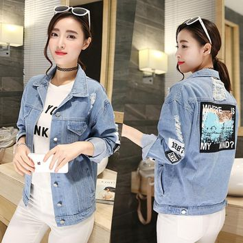 Trendy Women Frayed Denim Bomber Jacket Appliques Print Where Is My Mind Lady Vintage Elegant Outwear Autumn Fashion Coats AT_94_13
