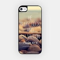 for iPhone 6/6S Plus - High Quality TPU Plastic Case - He Is My Rock And Salvation - Psalm 62:6 - Bible Verse - Motivational Quote