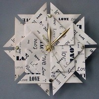 1st Anniversary Gift  Love Origami Clock-Large
