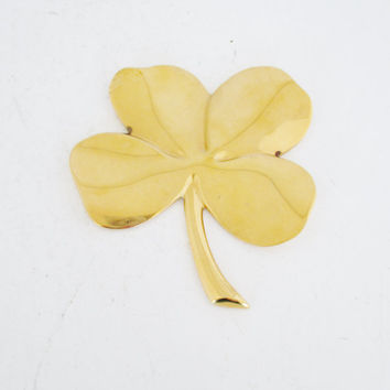 Brass Four Leaf Clover Paperweight Vintage 4 Leaf Clover Desk Accessory Brass Shamrock Good Luck Symbol St Patrick's Day Irish Decor