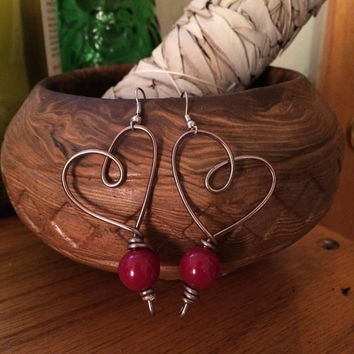 Burgundy maroon dangle heart shaped earrings, love earrings, grey and silver, wire wrapped, valentines day gift ideas for her, lightweight