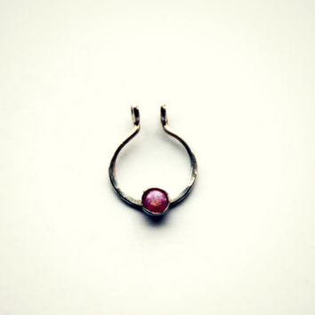 clip on septum ring sterling silver and pink opal, faux septum ring, fake septum ring, fake nose ring, faux nose ring, silver nose ring