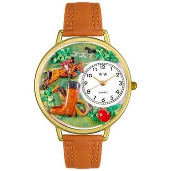 SheilaShrubs.com: Unisex Horse Competition Tan Leather Watch G-0810020 by Whimsical Watches: Watches