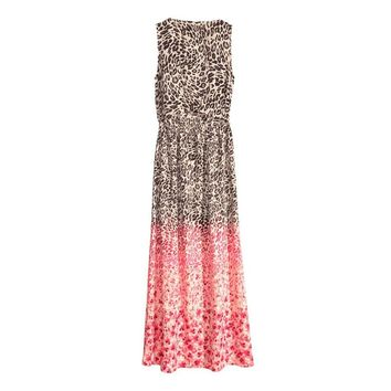 Women Brown/Red Color Block Leopard Print Maxi Dress O-Neck Sleeveless  Elegant