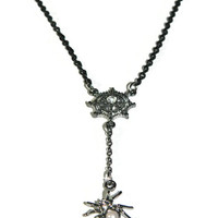 Spider Necklace, Black Chain, Spider Web