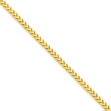 2mm, 14k Yellow Gold, Solid Franco Chain Bracelet, 7 Inch