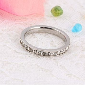 ONETOW New ladies ring, folder diamond ring zircon stone ring, refers to the simple fashion ring