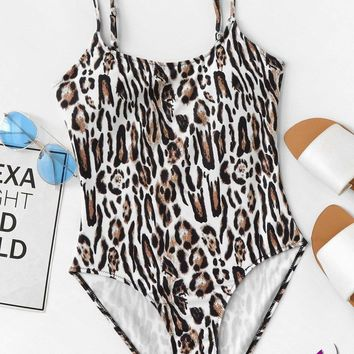Leopard Pattern One Piece Cami Swimsuit