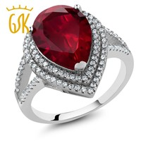 ring women 1.20 Ct Pear Shape 15x10mm Red Created Ruby 925 Sterling Silver Ring lachrymiform red jewelry ring classics gift