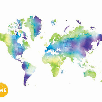 Watercolor world map print. Giclee print. Wanderlust globe. Kids room poster Apartment wall art Nursery room decor Gift for teens Travel map