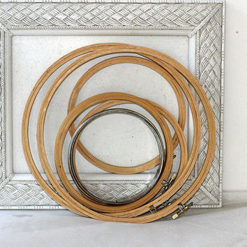 "Vintage Wooden Embroidery Hoops 3 Sizes Set of 6 | One Metal Hoop | Cross Stitch Framing Hoops 9.75"" , 6.5"" , 5"" 