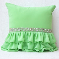 Green ruffled sequin throw pillow -16X16  Decorative Pillow- Green cushion cover- Gift pillow for Christmas , new year, wedding , Halloween.
