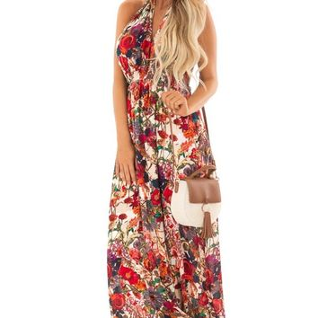Tan and Cream Halter Maxi Dress with Floral Print