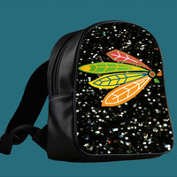 NHL Chicago Blackhawks on Sparkle for Backpack / Custom Bag / School Bag / Children Bag / Custom School Bag *