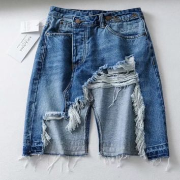 High waist hole burr irregular denim skirt split loose skirt female