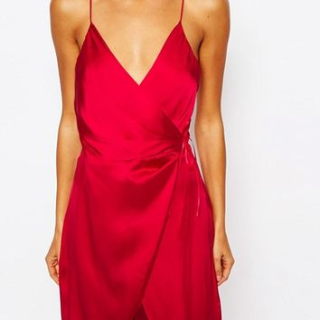 ASOS Ruched Side Satin Maxi Slip at asos.com
