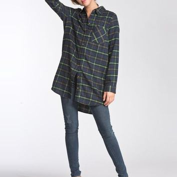 Oversized Flannel Top - Green