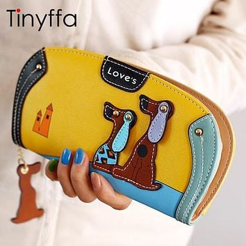Tinyffa Cartoon dog women purse bag designer wallets famous brand women wallet long money clip dollar price zipper coin pockets