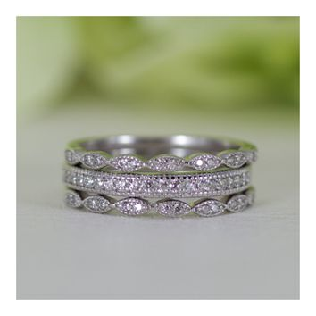 Micropavé Art Deco Style Three Rows Cubic Zirconia Wedding Band Ring Set In Sterling Silver