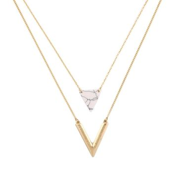Marble Triangle and Gold Pendant Necklace Duo