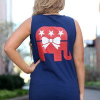 GOP Elephant Comfort Colors Pocket Tank - Repbulican - Grand Ole Party - Bow