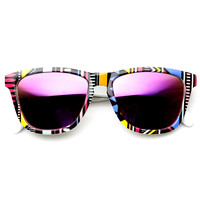 Indie Native Print Flash Revo Mirrored Lens Horned Rim Sunglasses 9378