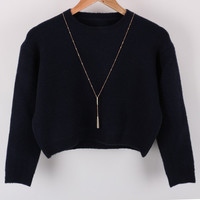 Women's long-sleeved round neck short wool blend knit sweater