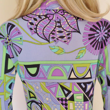 Vintage 1960's EMILIO PUCCI PsYcHeDeLiC ULtrA MoD Op ArT OpTiC FLoWeR Silk Couture Dress S M 8