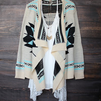 aztec open cardigan | Turquoise - final sale