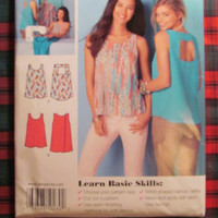 SALE Uncut Simplicity Sewing Pattern, 0230! 4-16 Small/Medium/large/Women's/Misses Open Back Tops/Sleeveless Shirts/Summer/Spring/Casual