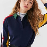UO Long Sleeve Colorblock Polo Shirt | Urban Outfitters