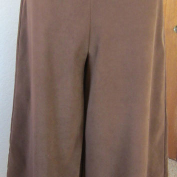 Vintage 80's Ladies Handmade Brown Moleskin Split-Skirt, Gaucho Wide Leg Pants Culottes Retro Classic Country Comfort Original Gift for Her