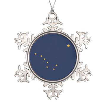 Patriotic Snowflake Ornament with Alaska Flag