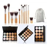 15-Color Concealer Palette & 11pcs Bamboo Handle Brush Kit