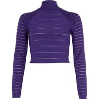 River Island Womens Purple burnout stripe turtle neck crop top
