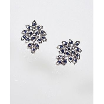 Crystal Studded Earrings with Leaf Design