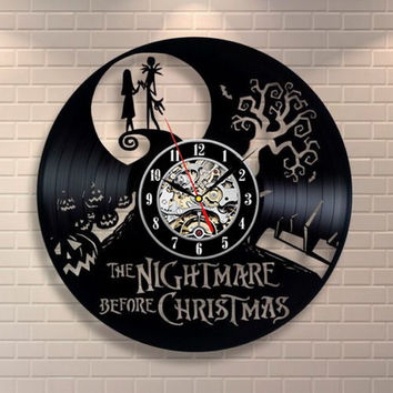 Repurposed Vinyl Record Nightmare Before Christmas Quartz Wall Clock Full Record