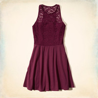 Lace High Neck Skater Dress